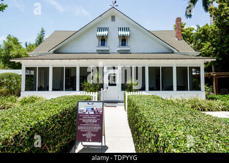 Naples Florida Naples Historical Society Historic Palm Cottage 1895 landmark exterior house museum facade - Stock Image