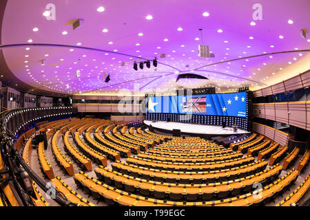 The hemicycle interior or eu parliament chamber, plenary chamber, gallery of the European Parliament building Brussels Belgium Eu Europe - Stock Image