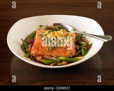 Steamed Ginger Salmon - Stock Image