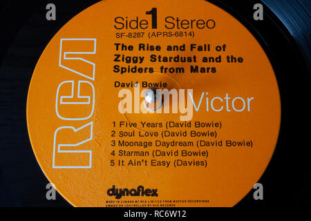 David Bowie vinyl record & label - The Rise and Fall of Ziggy Stardust and the Spiders from Mars - Stock Image