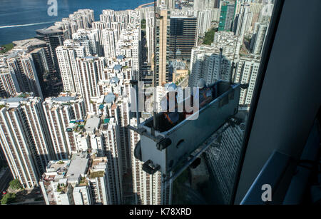 High rise window cleaning at Taikoo,Hong Kong. Jayne Russell/Alamy Stock Photo - Stock Image
