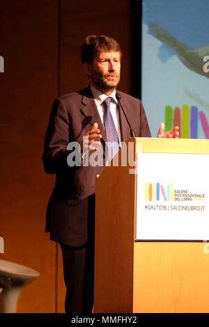 Turin, Piedmont, Italy, 10th May, 2018. International Book fair 2018,first day.The politician  Dario Franceschini delivers the inauguration speach. Credit: RENATO VALTERZA/Alamy Live News - Stock Image