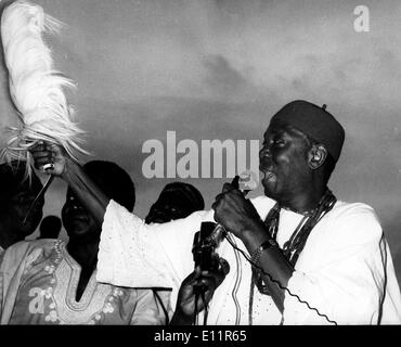 Oct 02, 1979; Lagos , Nigeria; Nigeria returned to civilian rule yesterday after 13 years. About 70,000 people jammed the Tafawa Belwa Square in Lagos to cheer the inauguration of Civilian President Alhaji Shehu Shagari. The picture shows Dr. NNAMDI AZIKIWE, the former President of Nigeria's first Republic, and leader of the Nigerian Peoples Party. - Stock Image