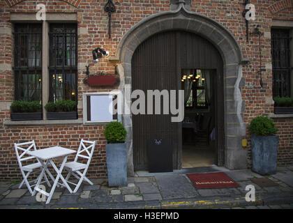 Restaurant in city of Brugge, Belgium - Stock Image