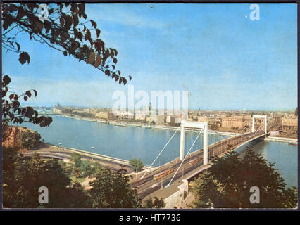 HUNGARY - CIRCA 1969: A postcard printed in Hungary, shows a view of Budapest from Gelert-Hill, circa 1969 - Stock Image