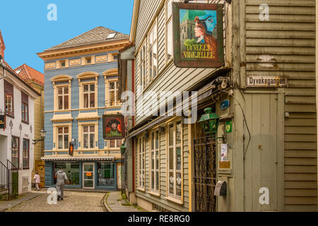 Back Streets Of The Old Town, Bergen Norway - Stock Image