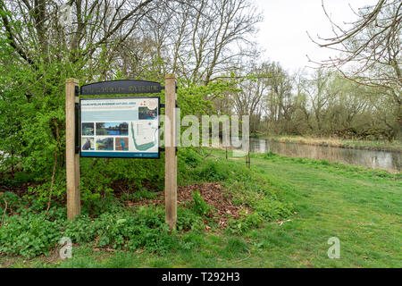 Information sign at the start of the Churchfields riverside nature area in Salisbury - Stock Image