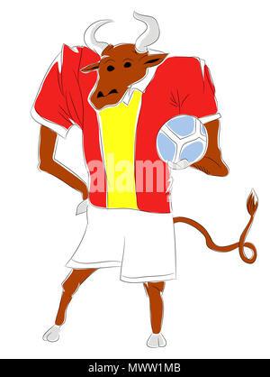 Soccer Mascot for Spain.   Spain bull mascot for football tournaments. - Stock Image