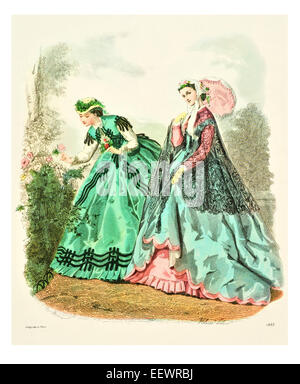 La Mode Illustree 1865 Victorian era period costume fashion dress gown gowns skirt veil cuff frills muslin cap embroidery - Stock Image