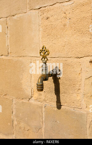 Decorative brass tap for washing feet at the Hala Sultan Tekke mosque on the side of Larnaca salt lake, Cyprus October 2018 - Stock Image