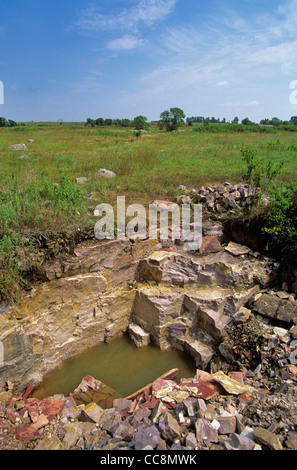 Pipestone quarry site used by native americans to quarry catlinite at Pipestone National Monument, Minnesota, AGPix - Stock Image