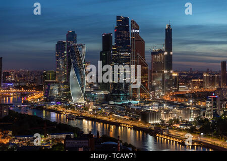 Evening view of modern skyline, Moscow, Russia - Stock Image