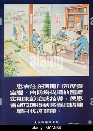 patients in a sanatorium playing go game and reading. A doctor and a nurse are visiting. - Stock Image