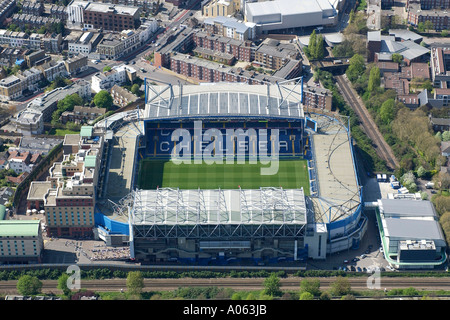 Aerial view of Chelsea Football Club in London, also known as Stamford Bridge Stadium home to the Blues or the Pensioners - Stock Image