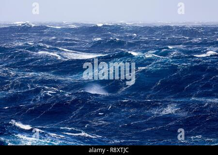 France, Indian Ocean, French Southern and Antarctic Lands, violent storm, Beaufort scale 10 gusting to 11 in the roaring forties, picture taken aboard the Marion Dufresne (supply ship of French Southern and Antarctic Territories) underway from Crozet Islands to Kerguelen Islands - Stock Image