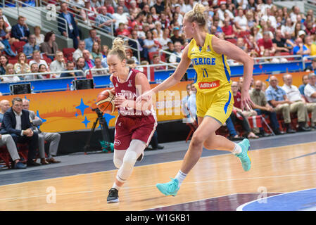 RIGA, LATVIA. 1st of July, 2019. European Women Basketball Championship, commonly called Eurobasket Women 2019 , game between team Latvia and team Sweden in  Arena Riga, Riga, Latvia. - Stock Image