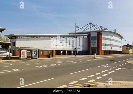 Wrexham football stadium known as the Racecourse Ground established in 1864 it is the worlds oldest stadium that still hosts international matches - Stock Image
