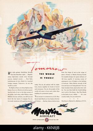 1943 U.S. Magazine Martin Aircraft Ad - Stock Image
