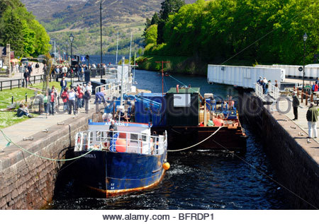 Lock and Road Swing-bridge at Fort Augustus between Loch Fess and Loch Oich Scotland - Stock Image