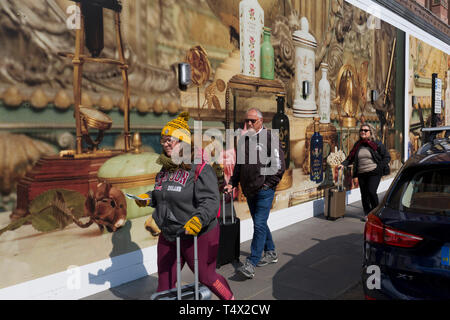 The temporary hoarding wrapped around the read of the Harrods Department store in Knightsbridge, on 15th April 2019, in London, England. - Stock Image