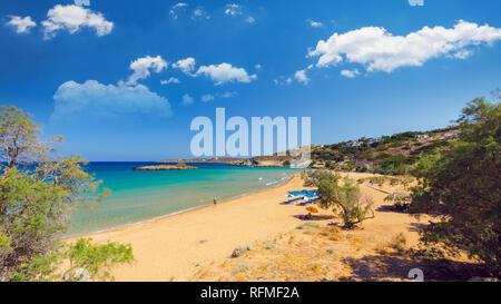 Kalathas beach, Crete Island, Greece. Kalatha is one of the best beaches in Creta - Stock Image
