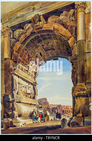 The Arch of Titus and the Coliseum, Rome, painting by Thomas Hartley Cromek, 1846 - Stock Image