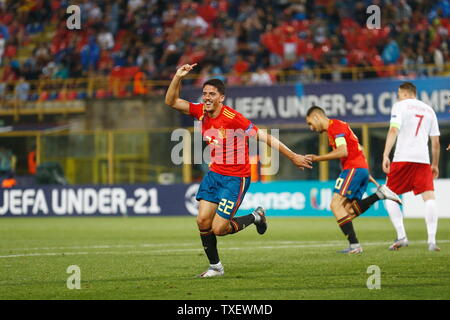 the Stadio Renato Dall'Ara, Bologna, Italy. 22nd June, 2019. Pablo Fornals (ESP), JUNE 22, 2019 - Football/Soccer : Fornals celebrate after his goal during UEFA European Under-21 Championship 2019 Group stage match between Under-21 Spain 5-0 Under-21 Poland at the Stadio Renato Dall'Ara, Bologna, Italy. Credit: Mutsu Kawamori/AFLO/Alamy Live News - Stock Image