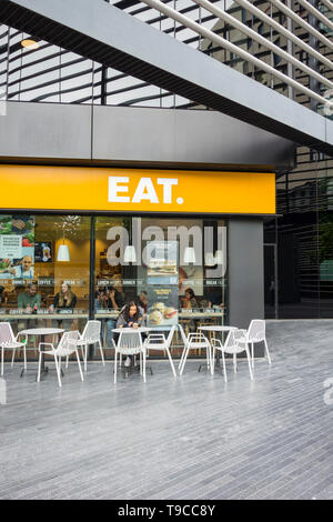 Exterior and frontage of EAT restaurant chain, Southwark, London, UK - Stock Image