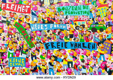 Colorful political paintings on the side of a building representing freedom of democracy and voting rights, Leipzig, Germany - Stock Image