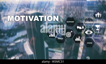 Motivation concept with business elements. Business team. Financial concept on blurred background. Mixed media. - Stock Image