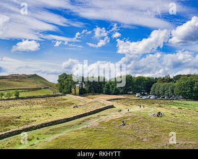 11 August 2018: Northumberland UK - Hadrian's Wall at Steel Rigg on a bright summer day. - Stock Image