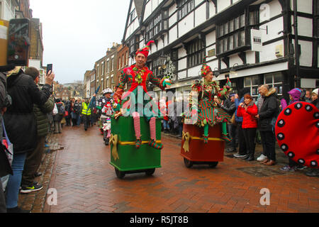 Rochester, Kent, UK. 1st December 2018: Participats of the Dickensian Festival on Rochester High Steet during the main parade.  Hundreds of people attended the Dickensian Festival in Rochester on 1 December 2018. The festival's main parade has participants in Victorian period costume from the Dickensian age. The town and area was the setting of many of Charles Dickens novels and is the setting to two annual festivals in his honor. Photos: David Mbiyu/ Alamy Live News - Stock Image