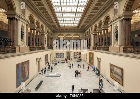 Royal Museums of Fine Arts of Belgium Interior, Musées Royaux des Beaux-Arts de Belgique, Koninklijke Musea voor Schone Kunsten van België main hall. - Stock Image