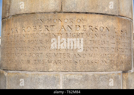 Inscription at Fort Sumter near Charleston in South Carolina, USA. The inscription is in memory of the defence of the fort as the opening shots of the - Stock Image