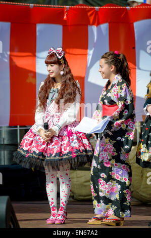 A show of Kawaii Gothic fashion (a branch of Gothic Lolita) at a Japan / Japanese festival. Japanese fashions, dress, - Stock Image