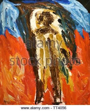 Vision by Karel Appel born in 1921 Dutch painter, (sculptor,  poet, Avant-garde movement Cobra), The, Netherlands. - Stock Image
