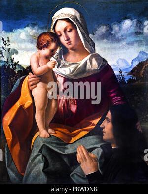 Madonna col Bambino e donatore - Madonna and Child and donor by  Andrea Previtali,1480 –1528,Bergamo, ( Andrea Cordelliaghi ) Italy, Italian. - Stock Image