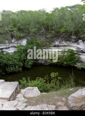 Cenote de los Sacrificios, Sacred Sacrificial Well, Chichen Itza Archaeological Site, Chichen Itza, Yucatan Peninsula, - Stock Image