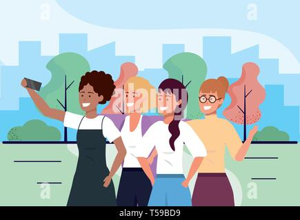 fun women friends with smartphone and casual clothes vector illustration - Stock Image