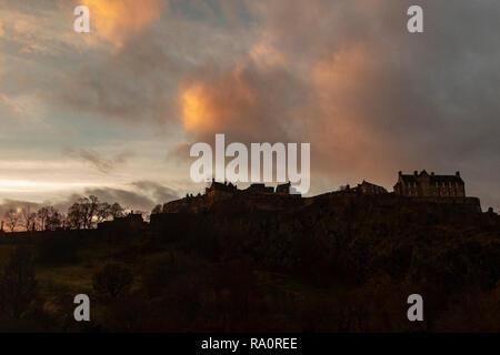Edinburgh Castle as the sun rises at day break - Stock Image