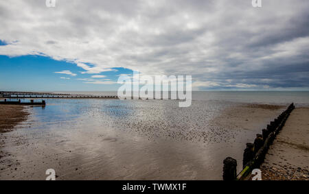 Sunny summers day at the seaside at Felpham near Bognor Regis, West Sussex, UK - Stock Image