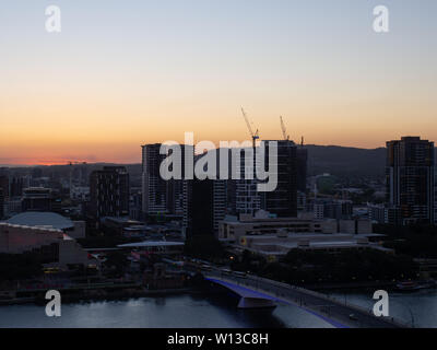 Brisbane Cityscape At Sunset - Stock Image