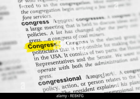 Highlighted English word 'Congress' and its definition at the dictionary. - Stock Image