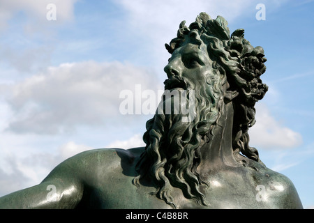 Statue of Neptun in the park of the Versailles Castle, France - Stock Image