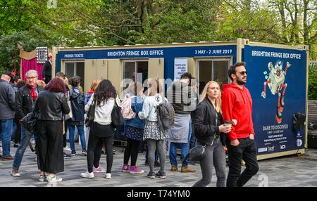 Brighton UK 4th May 2019 - Crowds buying tickets performing at the Brighton Festival Fringe 'Streets of Brighton' event in the city centre on the opening day. Credit: Simon Dack / Alamy Live News - Stock Image