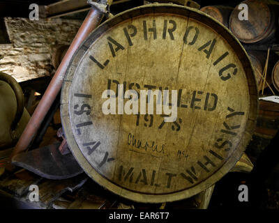 Barrels of Laphroaig being aged in a warehouse at the distillery Islay Scotland - Stock Image