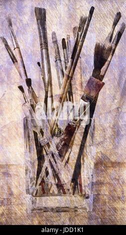 Vase of Paintbrushes - Stock Image