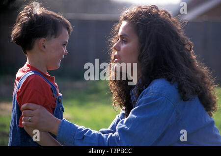 mother telling off her young son - Stock Image
