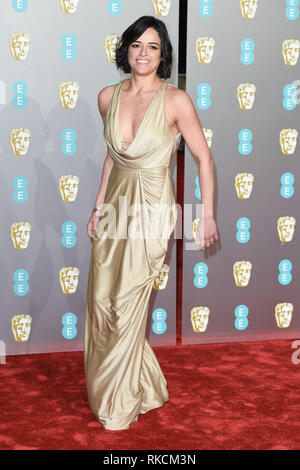 London, UK. 10th Feb, 2019. LONDON, UK. February 10, 2019: Michelle Rodriguez arriving for the BAFTA Film Awards 2019 at the Royal Albert Hall, London. Picture: Steve Vas/Featureflash Credit: Paul Smith/Alamy Live News - Stock Image