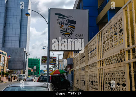 A sign reading 'Cafe Malabo' in the city centre of the capital of Equatorial Guinea - Stock Image
